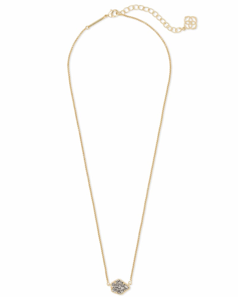 Tess Gold Pendant Necklace in Platinum Drusy