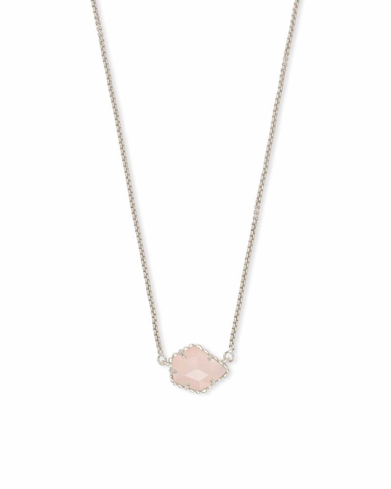 Tess Silver Small Pendant Necklace In Rose Quartz