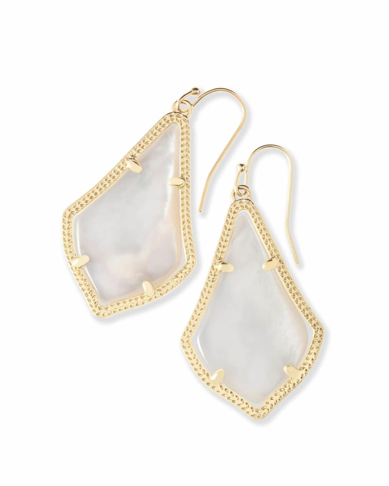 Alex Gold Drop Earrings in Ivory Pearl