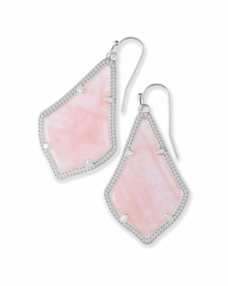 Alex Silver Drop Earrings in Rose Quartz