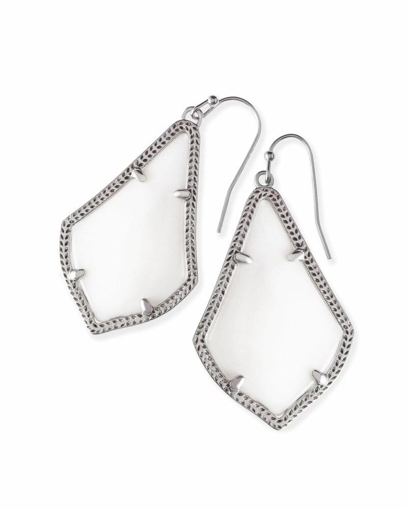Alex Silver Drop Earrings in White Mother-of-Pearl