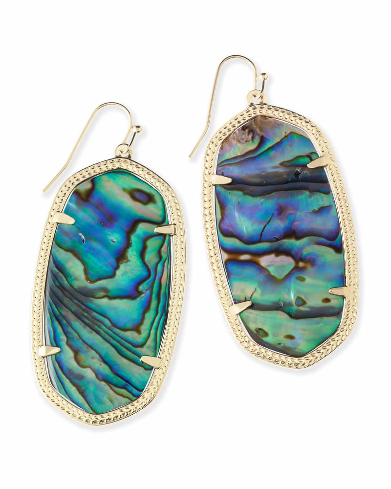 Danielle Gold Statement Earrings in Abalone Shell