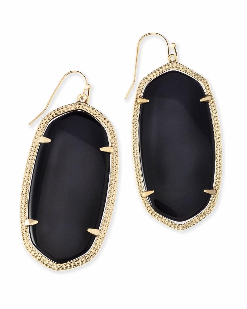 Danielle Gold Drop Earrings in Black Opaque Glass