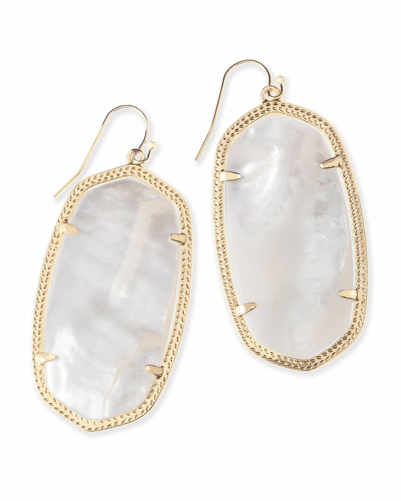 Danielle Gold Statement Earrings in Ivory Mother-of-Pearl