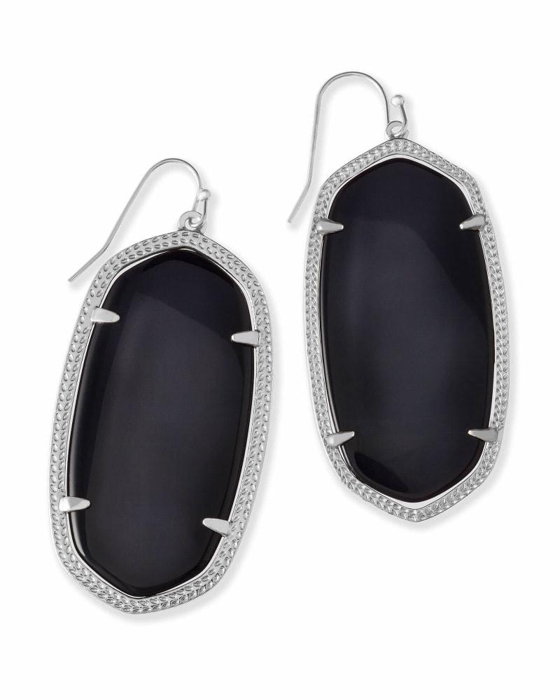 Danielle Silver Drop Earrings in Black Opaque Glass