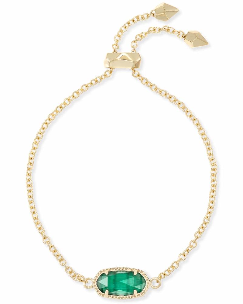Elaina Gold Adjustable Chain Bracelet in Emerald Cats Eye
