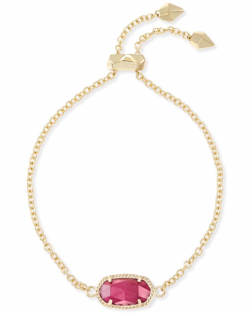 Elaina Gold Adjustable Chain Bracelet in Maroon Jade