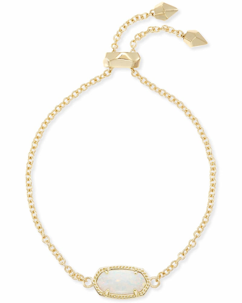 Elaina Gold Adjustable Chain Bracelet in White Kyocera Opal