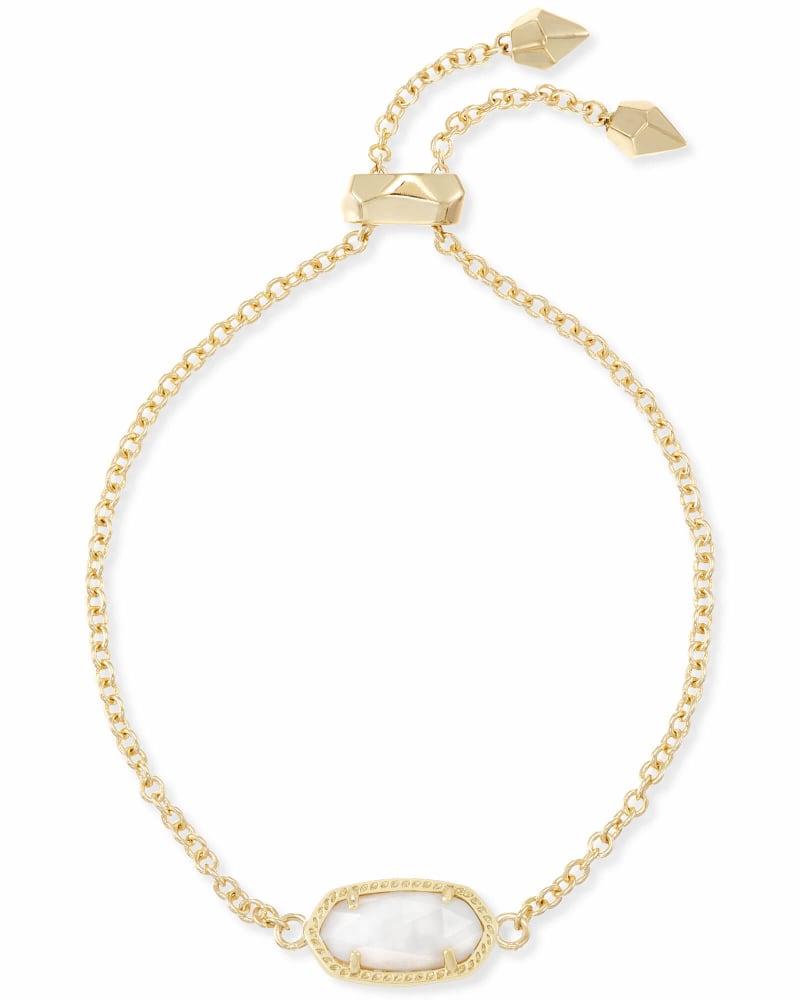 Elaina Gold Adjustable Chain Bracelet in White Pearl