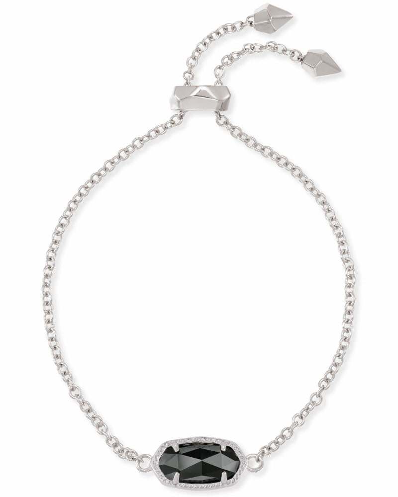 Elaina Silver Adjustable Chain Bracelet in Black