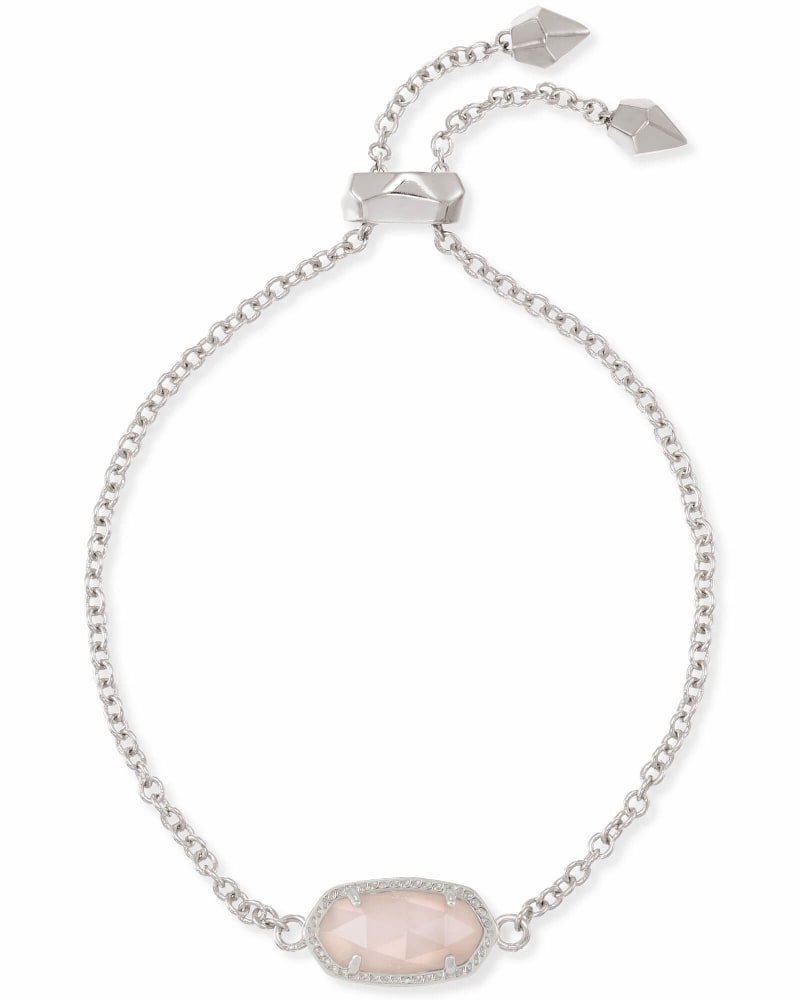 Elaina Silver Adjustable Chain Bracelet in Rose Quartz