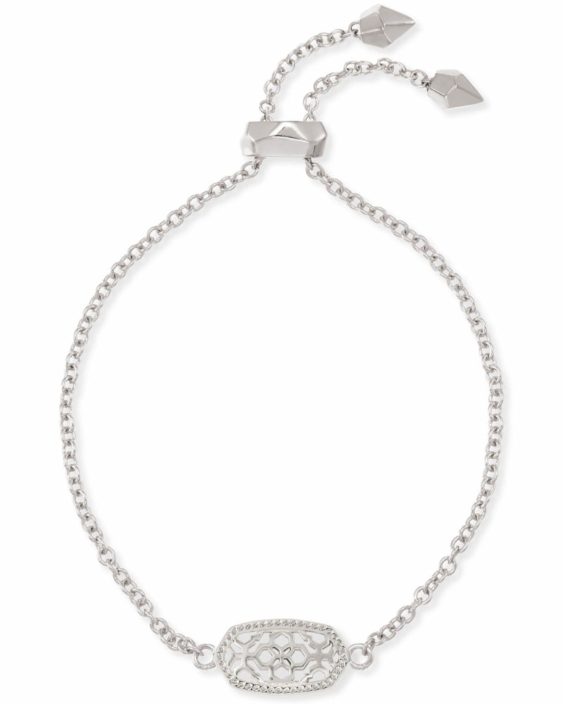 Elaina Silver Adjustable Chain Bracelet in Silver Filigree Mix