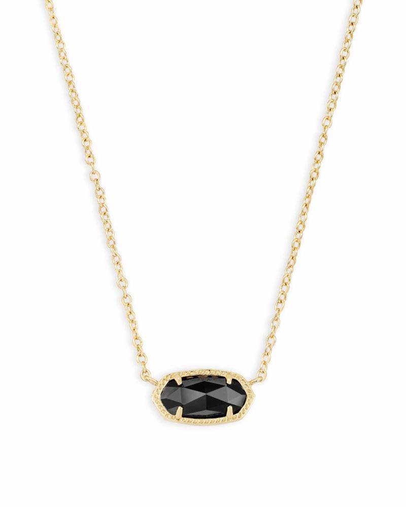 Elisa Gold Pendant Necklace in Black Opaque Glass | Kendra Scott