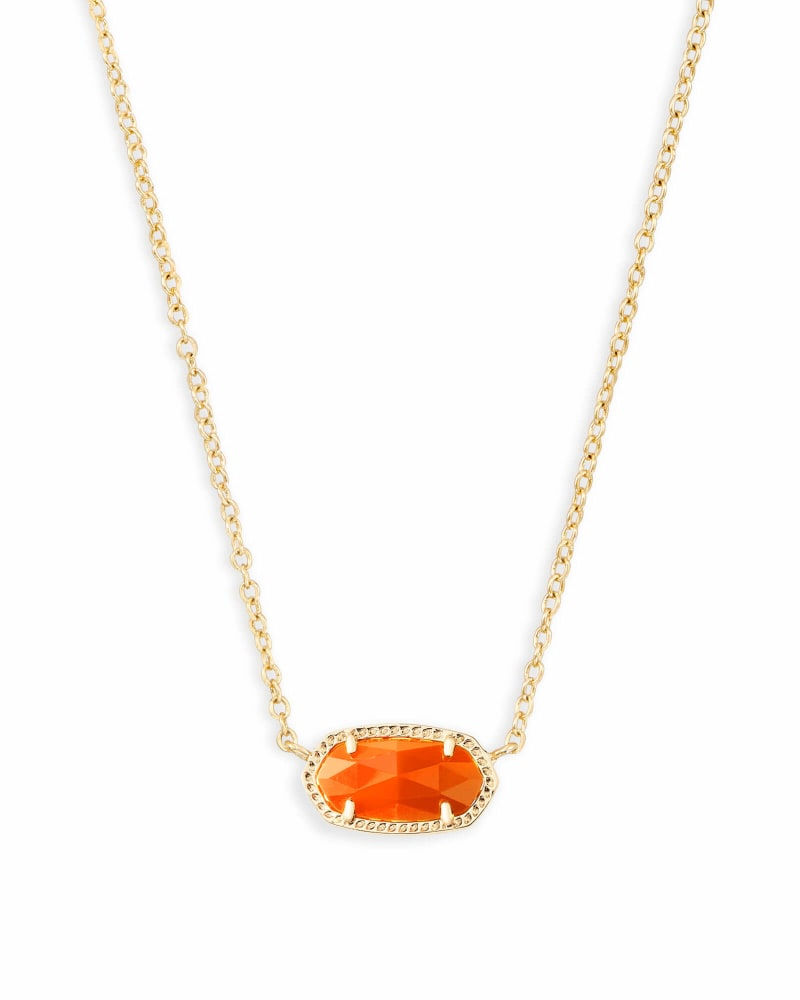 Elisa Gold Pendant Necklace in Orange Opaque Glass