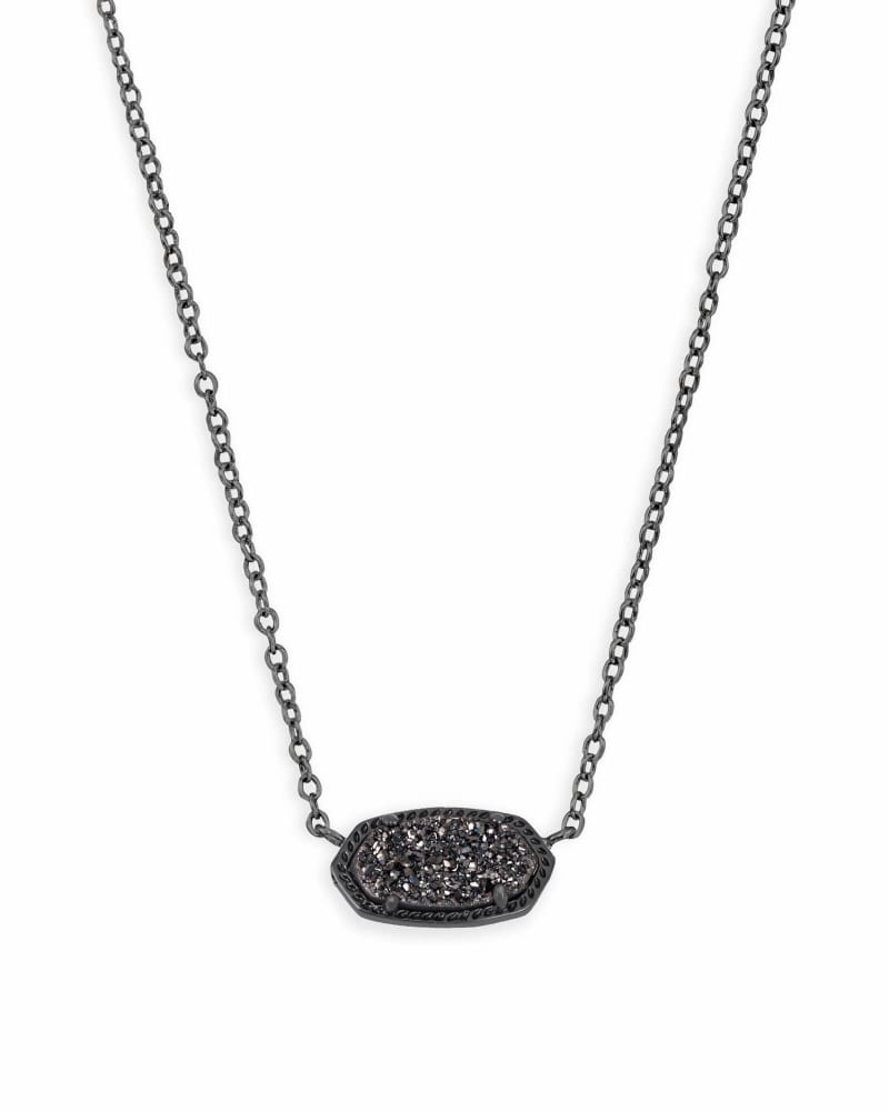 Elisa Pendant Necklace in Black Drusy