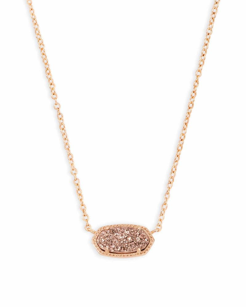 Elisa Rose Gold Extended Length Pendant Necklace in Rose Gold Drusy