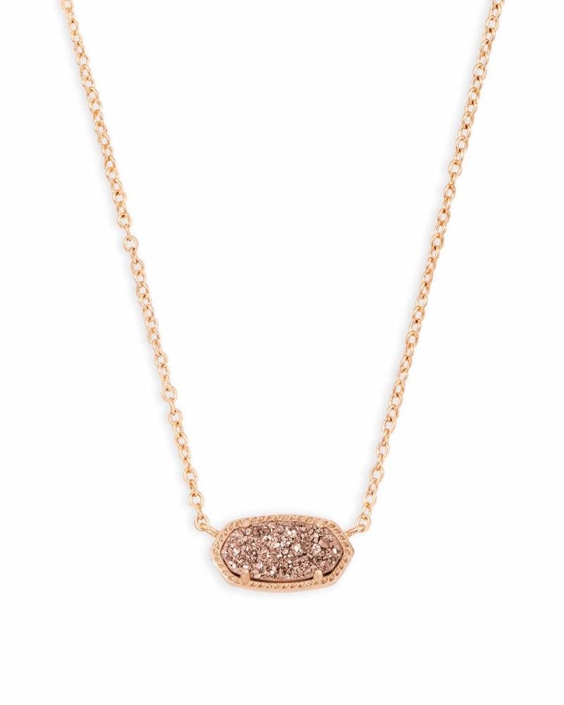 Elisa Rose Gold Pendant Necklace in Rose Gold Drusy   Kendra Scott