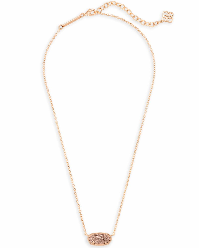 Elisa Rose Gold Pendant Necklace in Rose Gold Drusy