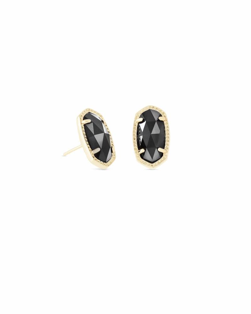 Ellie Gold Stud Earrings in Black