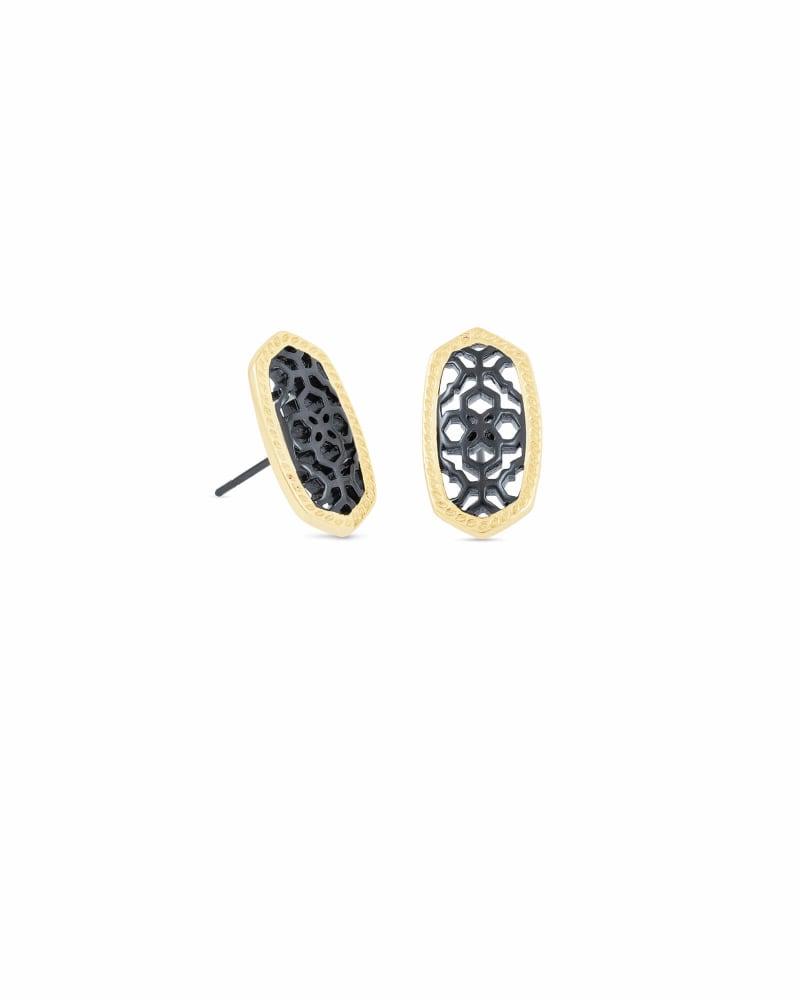 Ellie Gold Stud Earrings in Gunmetal Filigree