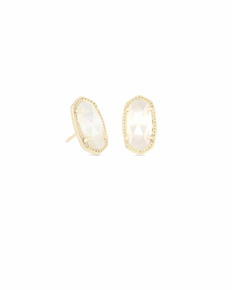 Ellie Gold Stud Earrings in Ivory Pearl