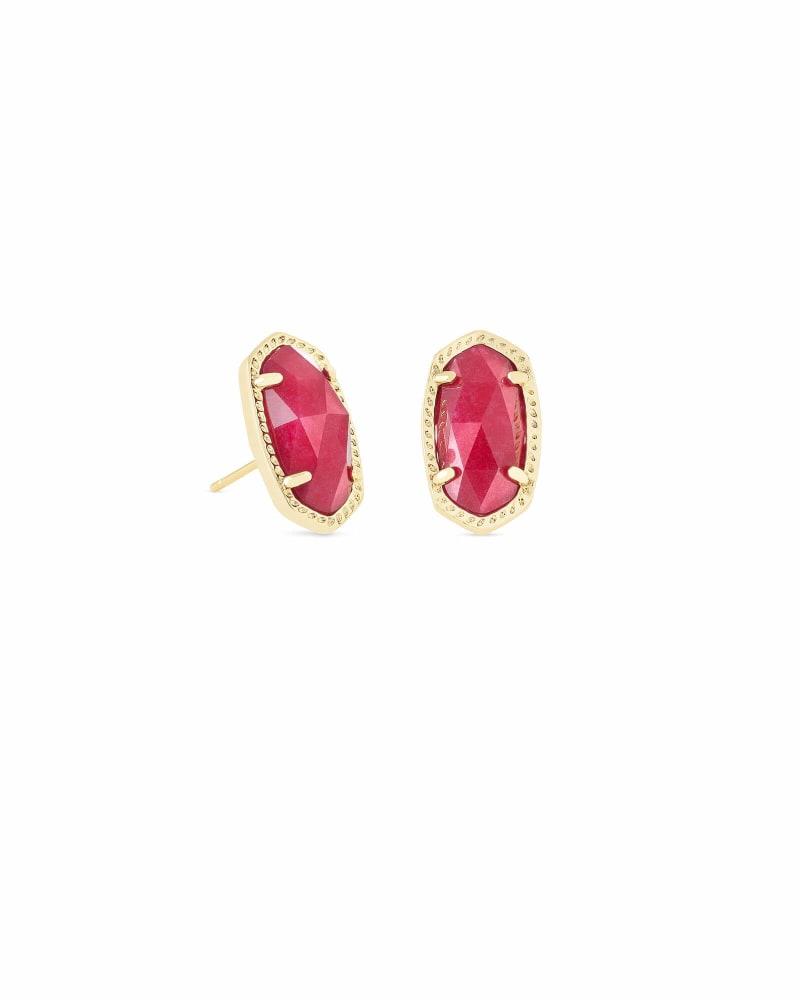 Ellie Gold Stud Earrings in Maroon Jade