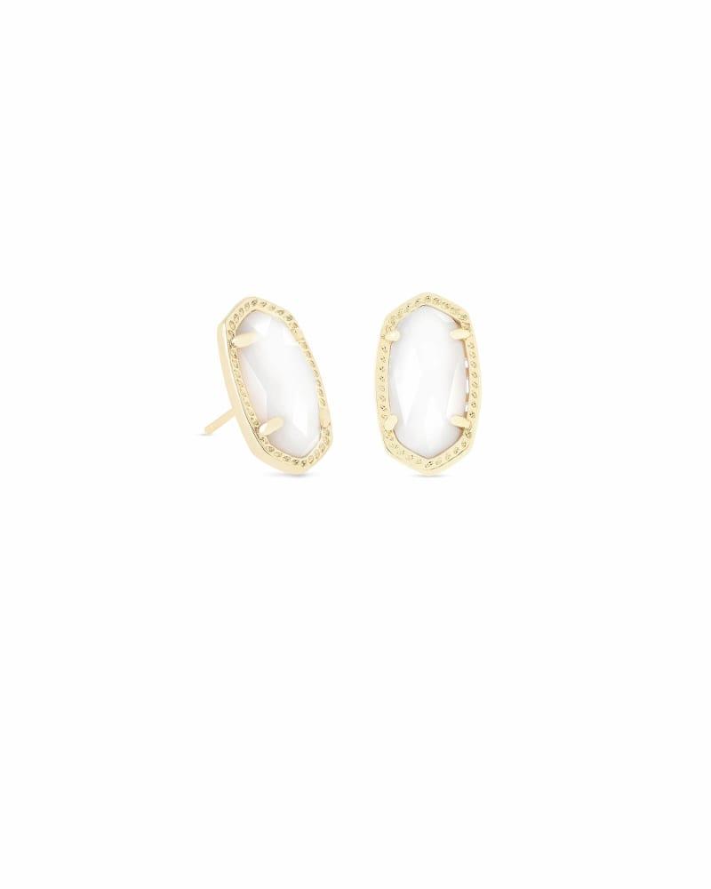 Ellie Gold Stud Earrings in White Pearl