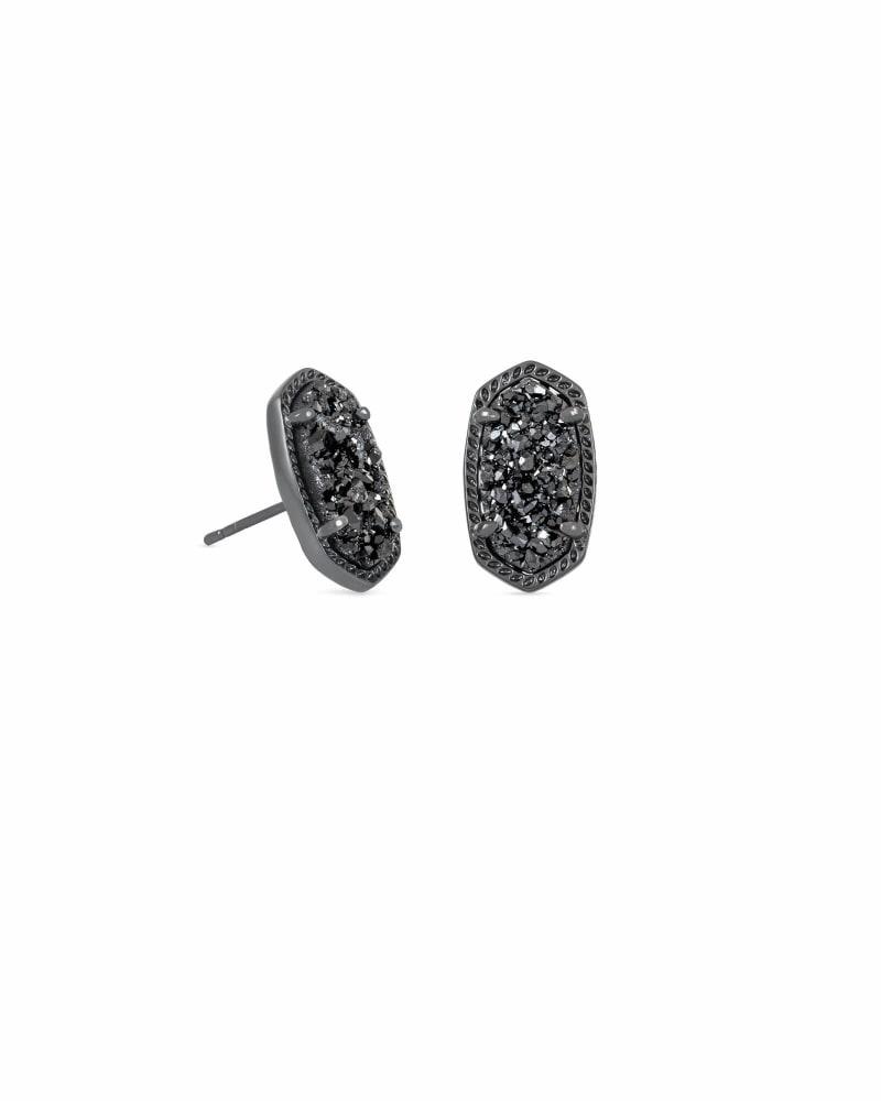 Ellie Gunmetal Stud Earrings in Black Drusy