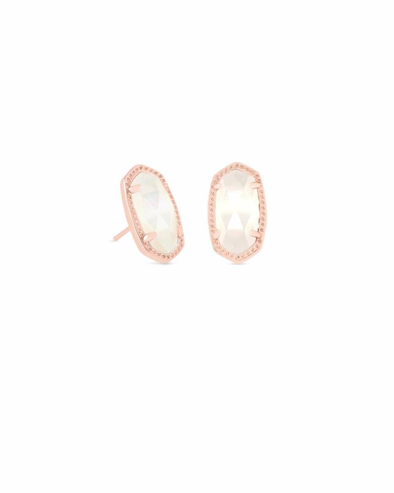 Ellie Rose Gold Stud Earrings in Ivory Pearl