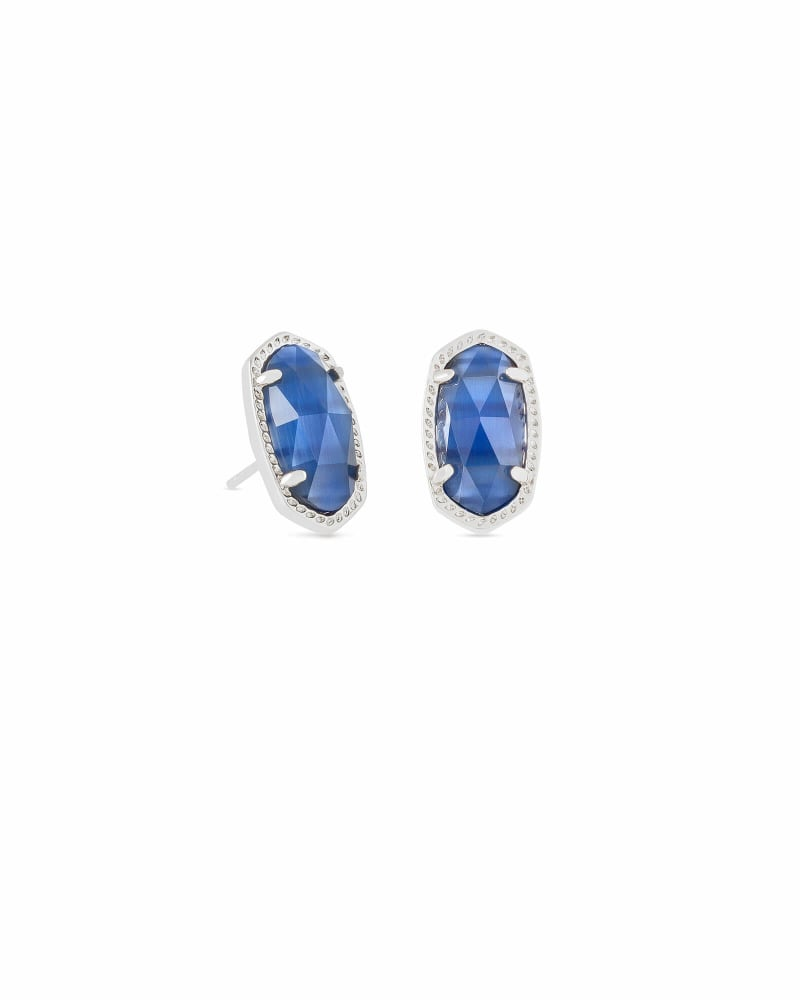 Ellie Silver Stud Earrings in Navy Cat's Eye
