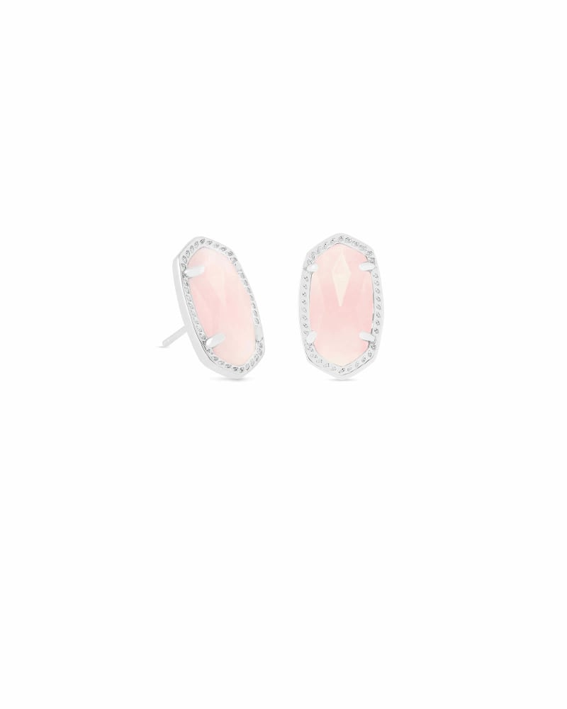 Ellie Silver Stud Earrings in Rose Quartz