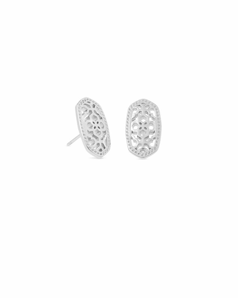 Ellie Silver Stud Earrings in Silver Filigree Mix