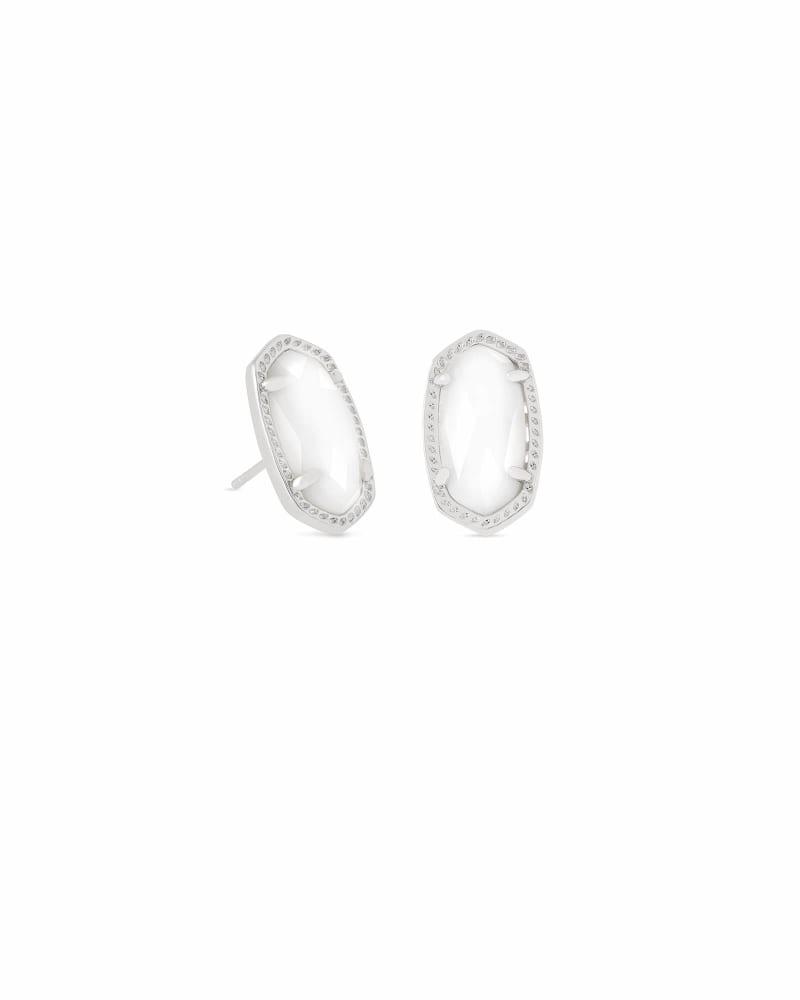 Ellie Silver Stud Earrings in White Pearl