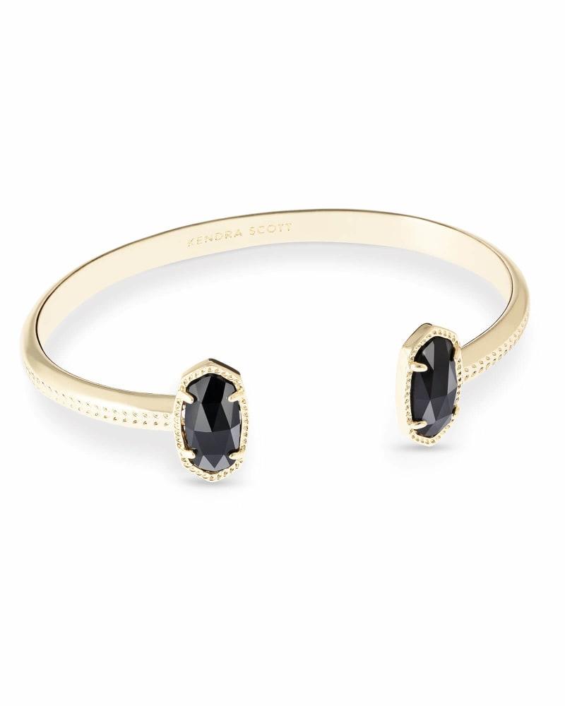 Elton Gold Cuff Bracelet in Black Opaque Glass