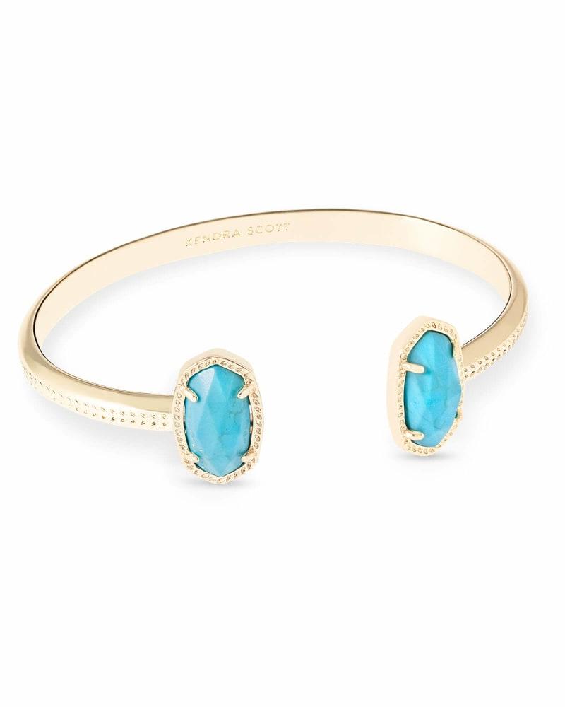 Elton Gold Pinch Bracelet in Turquoise