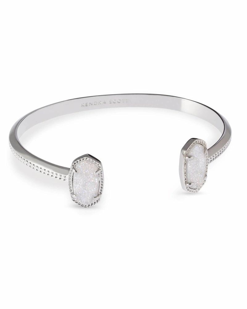 Elton Silver Cuff Bracelet in Iridescent Drusy