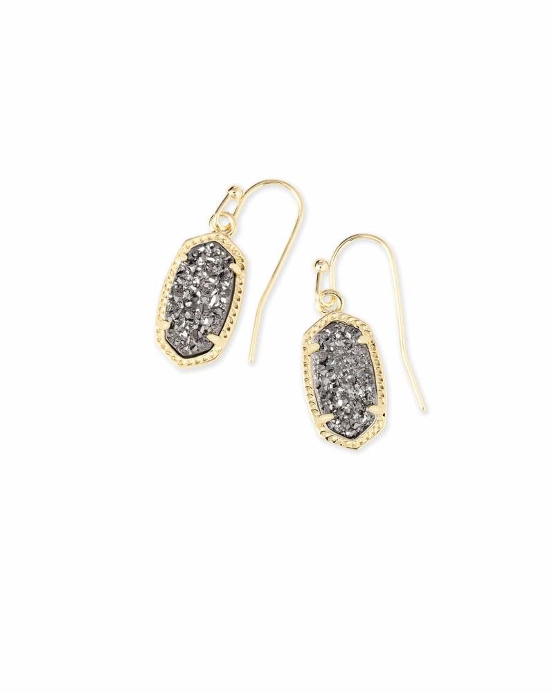 Lee Gold Drop Earrings in Platinum Drusy