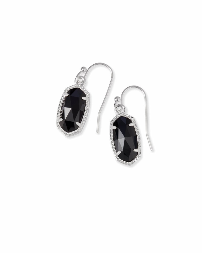 Lee Silver Drop Earrings in Black Opaque Glass
