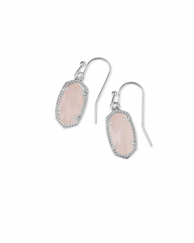 Lee Silver Drop Earrings in Rose Quartz