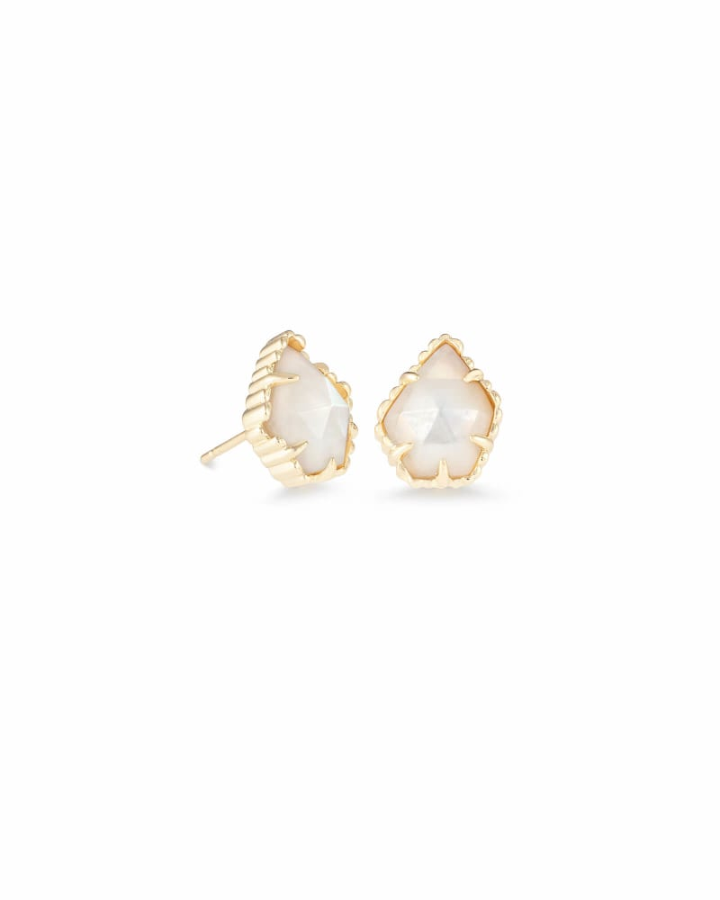 Tessa Gold Stud Earrings in Ivory Pearl