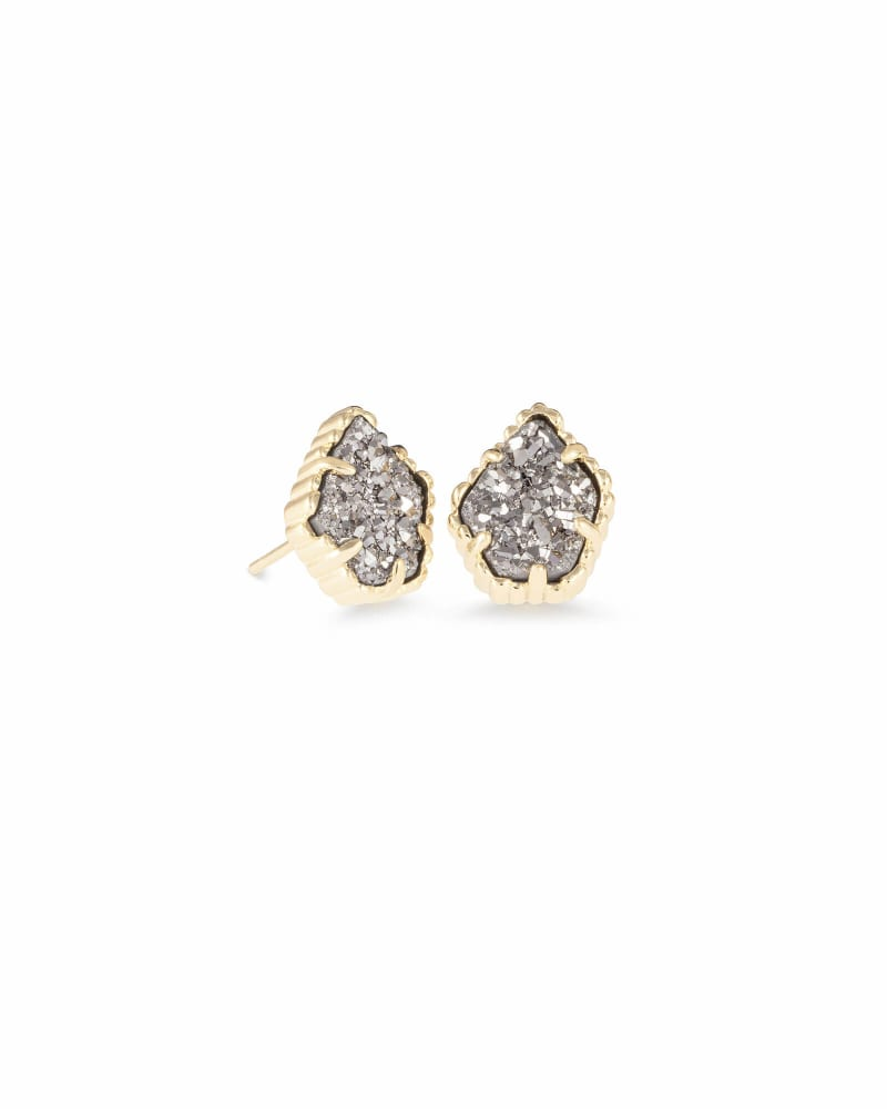 Tessa Gold Stud Earrings in Platinum Drusy