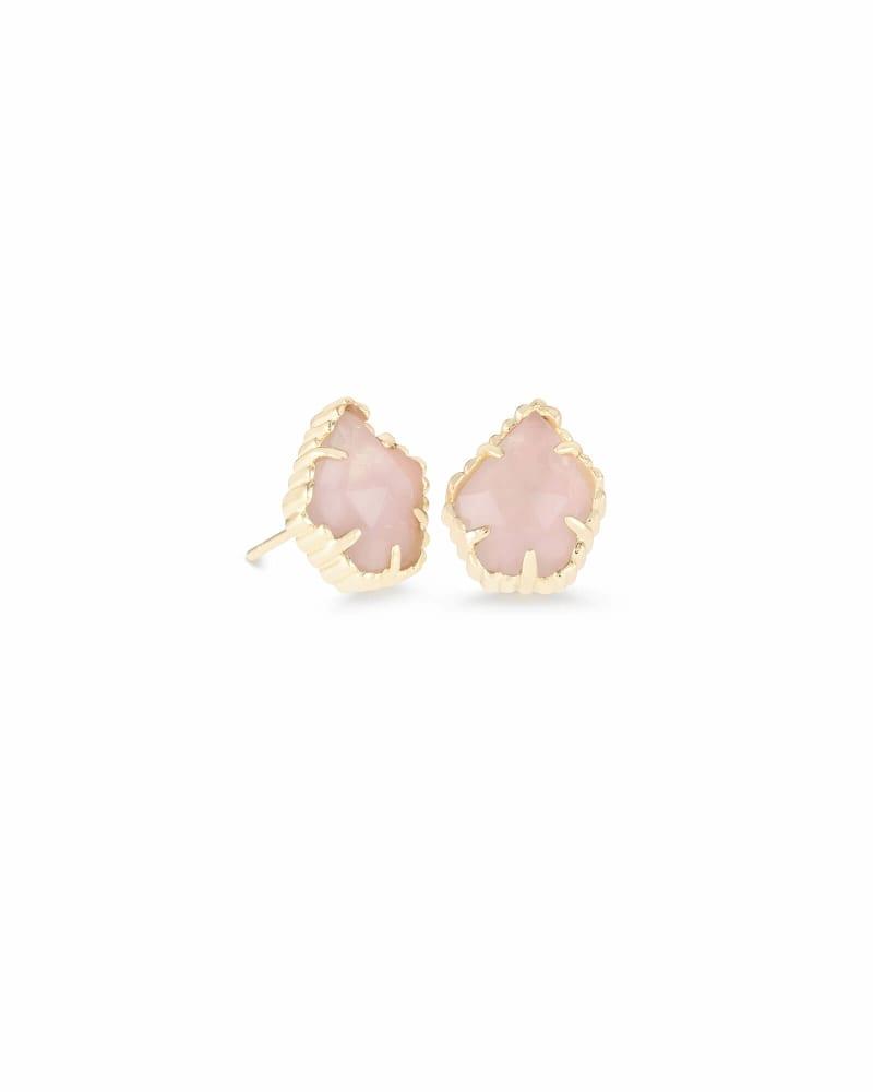 Tessa Gold Stud Earrings in Rose Quartz