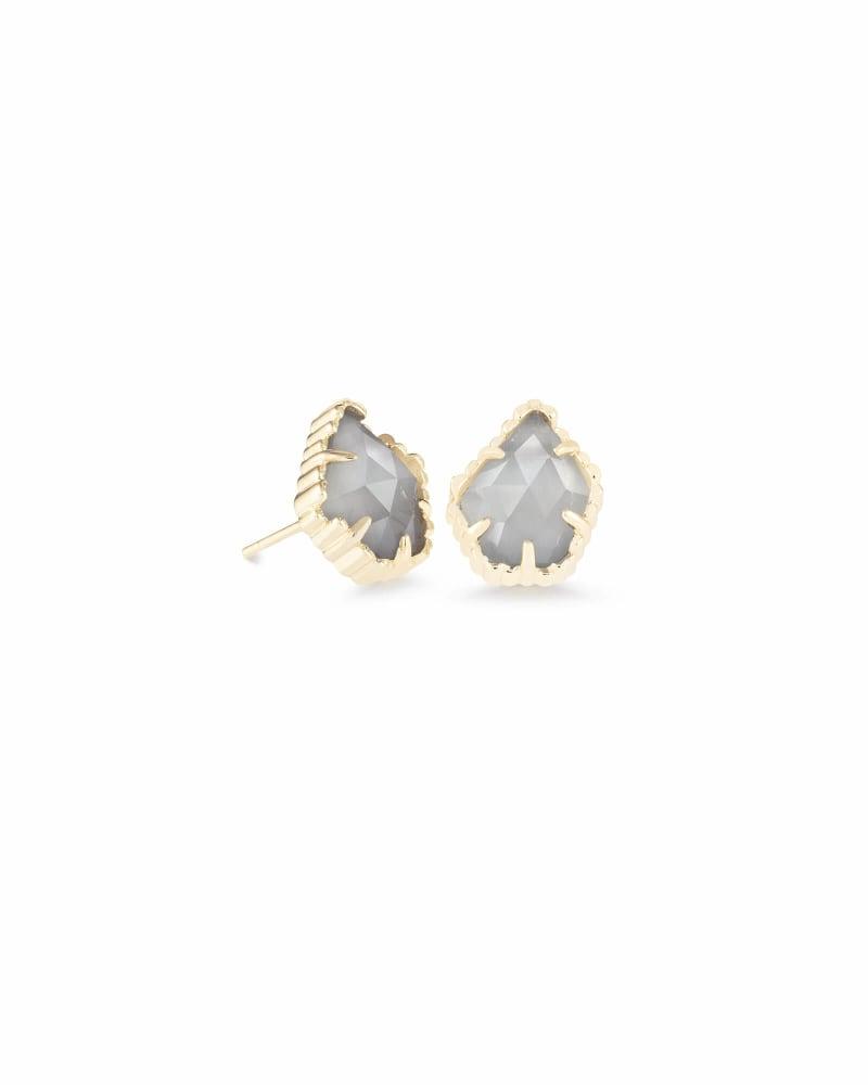 Tessa Gold Stud Earrings in Slate Cats Eye