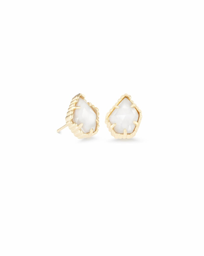 Tessa Gold Stud Earrings in White Pearl