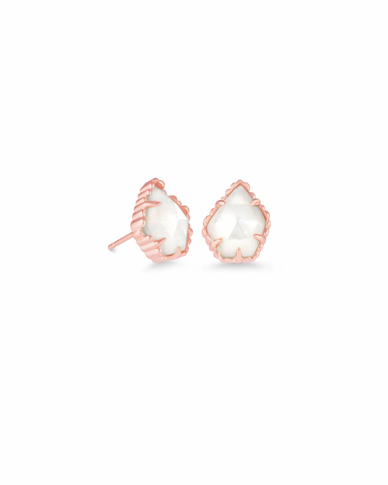 Tessa Rose Gold Stud Earrings in Ivory Pearl