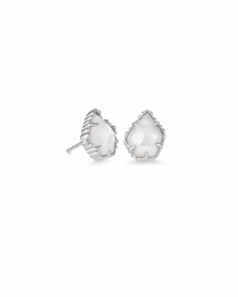Tessa Silver Stud Earrings in Ivory Pearl