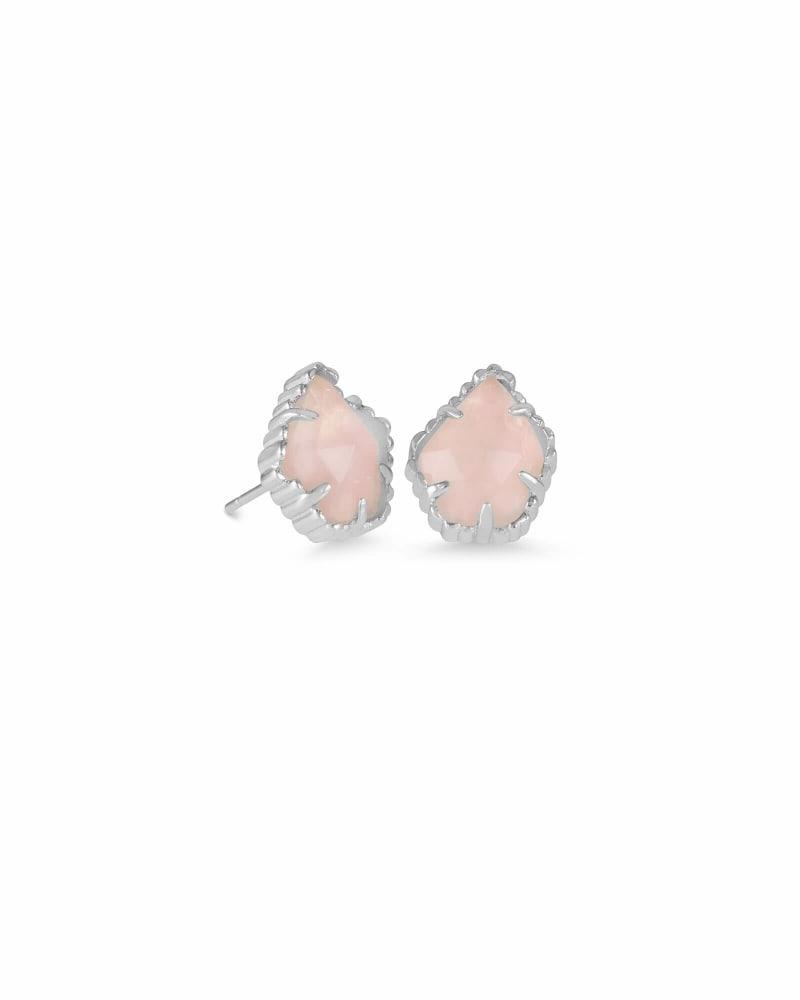 Tessa Silver Stud Earrings in Rose Quartz