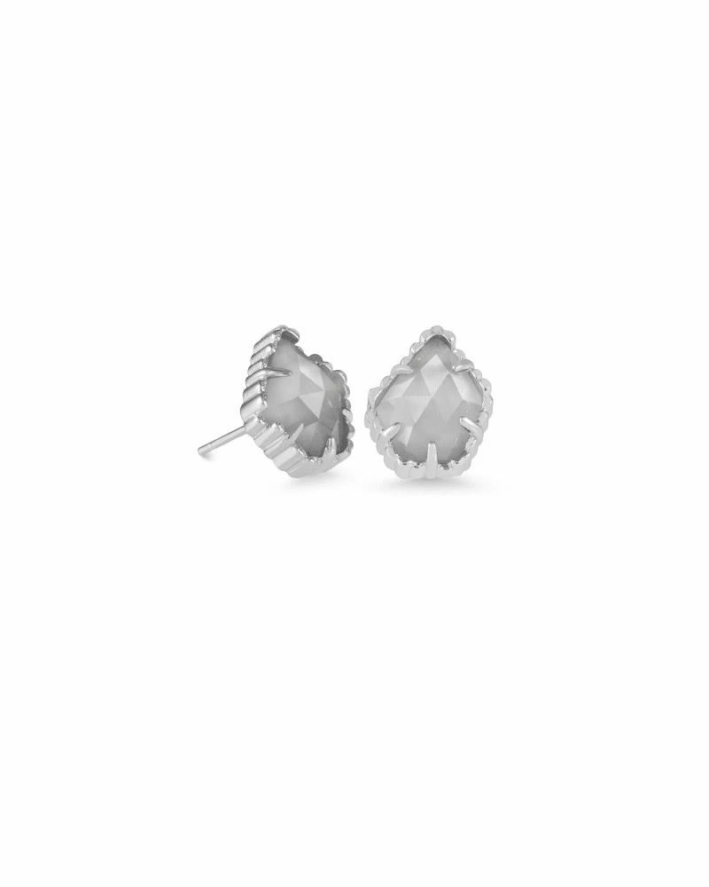 Tessa Silver Stud Earrings in Slate Cats Eye