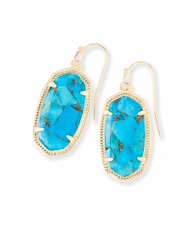 Dani Gold Drop Earrings in Bronze Veined Turquoise Magnesite