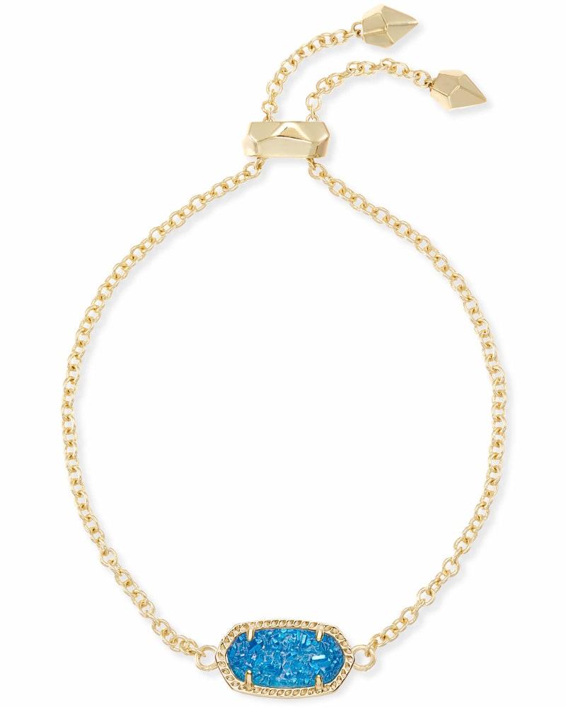 Elaina Gold Adjustable Chain Bracelet in Cobalt Drusy
